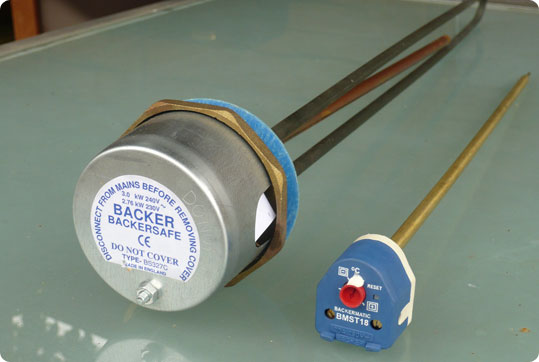 An immersion heater in water